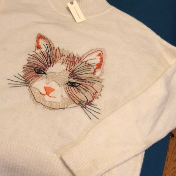 Anthropologie Sweaters Nwt Anthro Moth Miaow Cat Sweater New Sz
